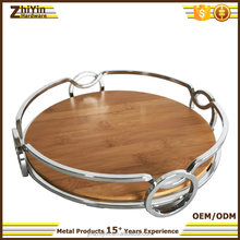 Bamboo bottom restaurant coffee serving tray bar round wooden metal serving tray set