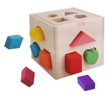 Educational Wooden 3d Puzzles Game Shape Sorting Cube Toy Children Wooden Toys