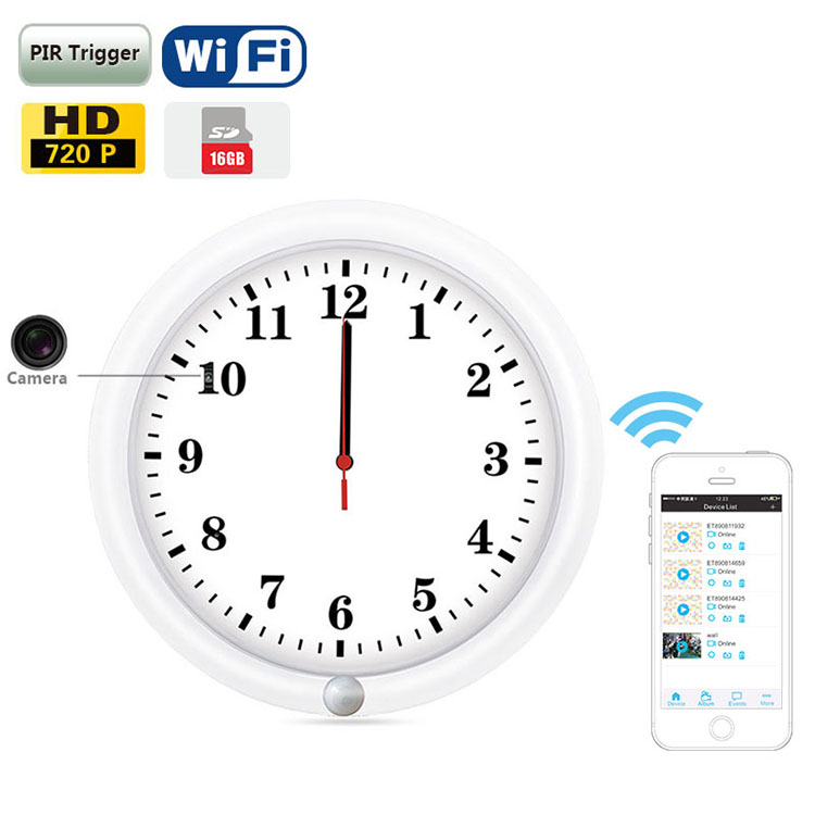 Wifi high quality night vision clock <strong>13</strong> inch wooden wall clock
