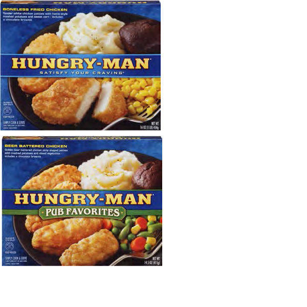 HUNGRY MAN RANGE OF PRODUCTS