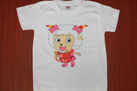 White shorts printed t shirts for kids,cartoon kids t shirt printing wholesale OEM service