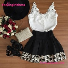 Lacework Sleeveless Black&White Drop Shipping Casual Dress 2016 Summer