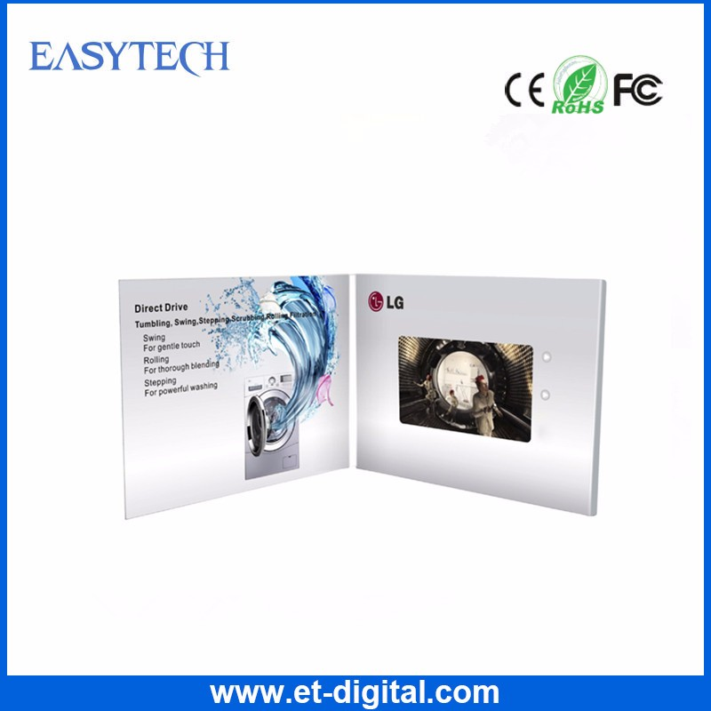 Customized 5 inch leather video card video brochure with envelope for promotion/wedding invitation/advertising