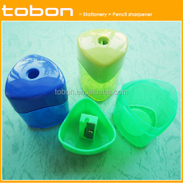 Professional Triangle shape funny cute sharpener knife plastic pencil sharpener