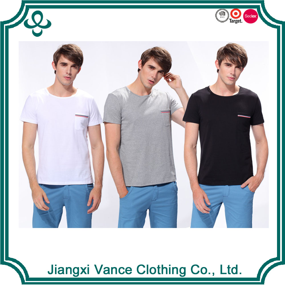 Men left pocket round neck short sleeve tshirt custom your own labels t-shirts