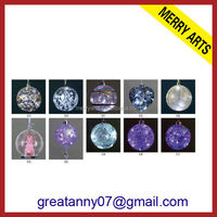 popular christmas decoration - clear transparent lighted up glass christmas hanging balls decoration