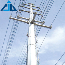 220kv hot dip galvanized steel structure electric power transmission line tubular steel pole