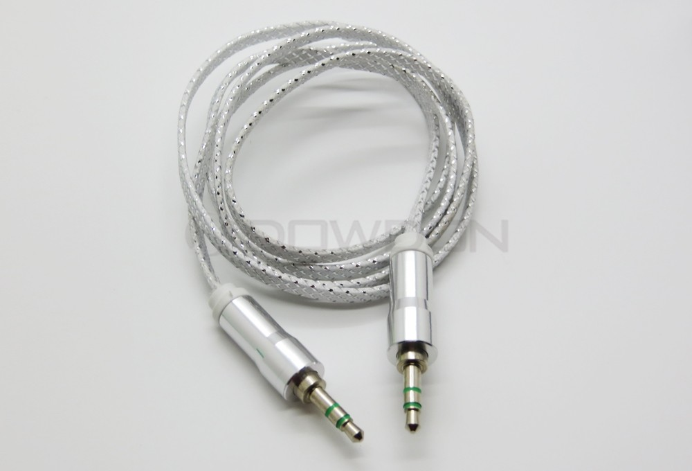 Flat Fabric 3.5mm Stereo Jack Plug Audio Headphone Aux Cable 1M