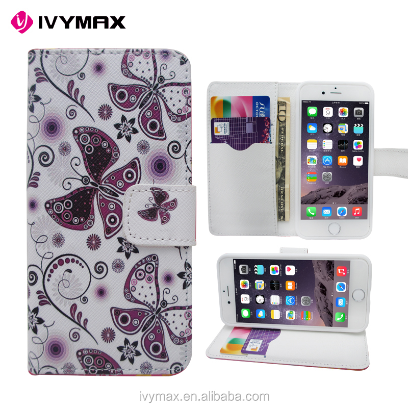 Customerfirst Design Butterfly PU Feather Wallet Folio Leather Flip Case Cover with Card Id Slot and Wrist Strap for Iphone 6