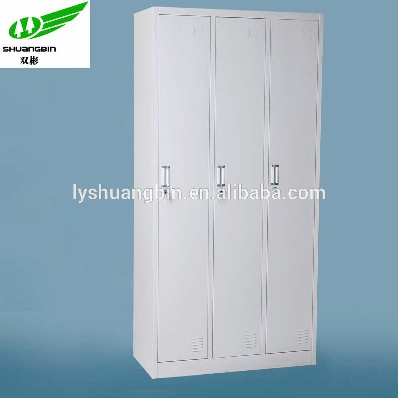 Factory custom high quality stainless steel cheap modern 3 door lowes white wardrobe