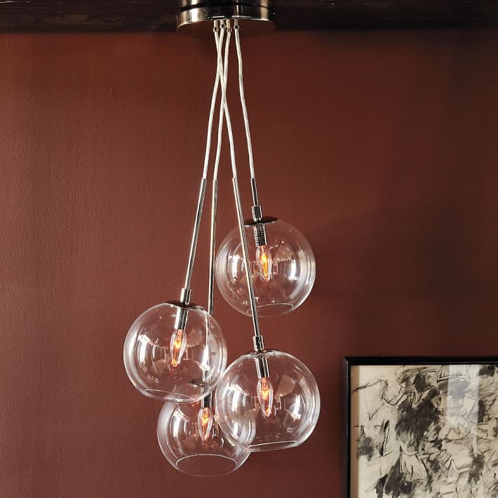 P0731-1 popular Globe A fun Cluster Glass Pendant form a modern quartet bold visual impact over seating