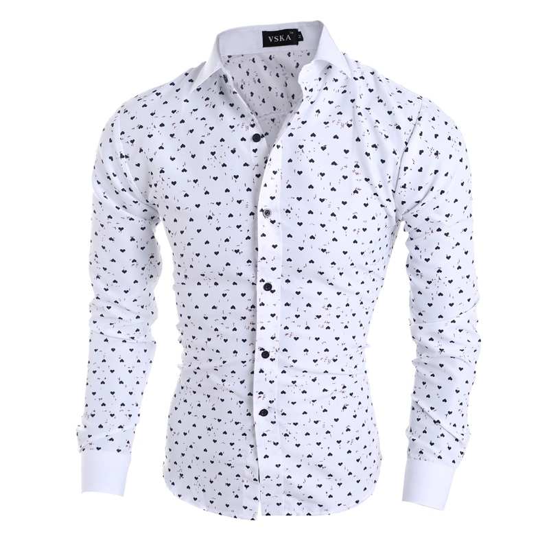 2015 New Fashion Pattern Men's Leisure Long-Sleeved Shirts 5072 2Color M- XXL