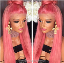 lovely wigs fashion 100%Chinese virgin human hair Wigs Silk pink color full Lace Wigs free part