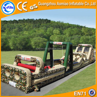 Camouflage cool inflatable obstacle course, army suitable adrenaline rush obstacle course