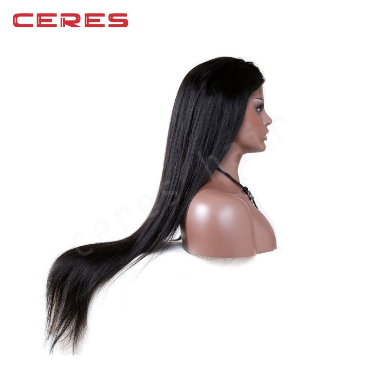 Wholesale Price Top Quality extra long 30inch #1b virgin malaysian silk straight human hair lace front wig