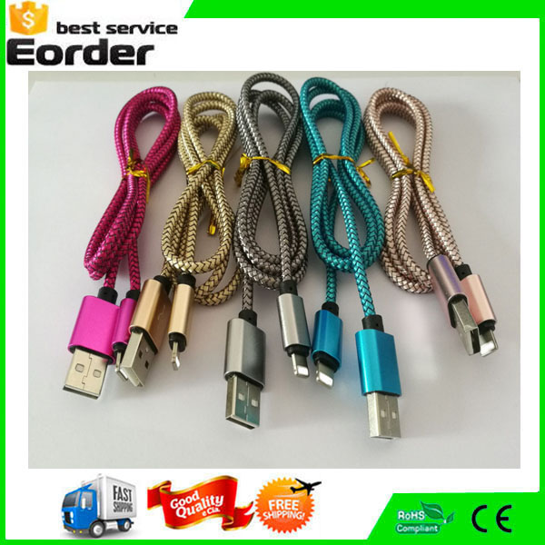Braided Sync Data Aluminum Charger Cable Micro USB Cord for Andriod Mobile Phone