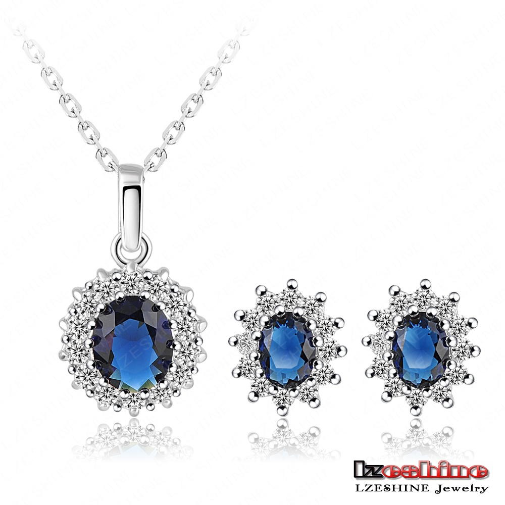 2016 New Arrival Platinum Plated Zircon Sapphire Earring Necklace Engagement Jewelry Set ST0013-B
