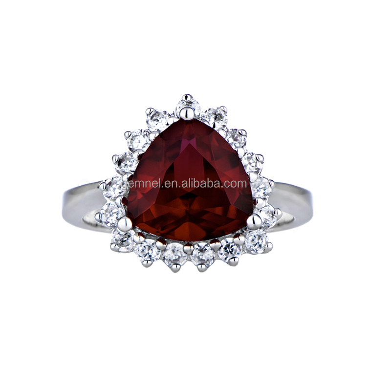Platinum Plated Halo Garnet Gemstone Birthstone Ring Sizes 4-12