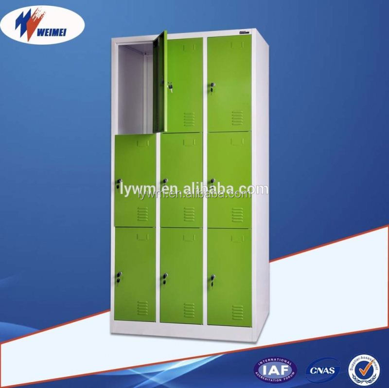 9 Doors Gym Lockers Metal Bathroom Locker Steel Storage Locker