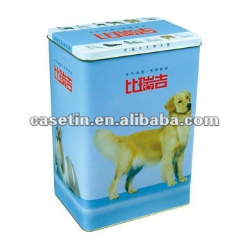 hot sale rectangle blue pet food tin box with hinged lid