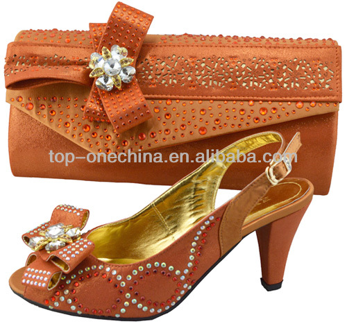 2014 orange shoe and bag to match/italian ladies shoes and matching bags/italian ladies shoes and matching bags(TSH-148)