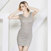 85% Silk 15% Cashmere Blend Beautiful Pure Color Sleeveless Woman Dress