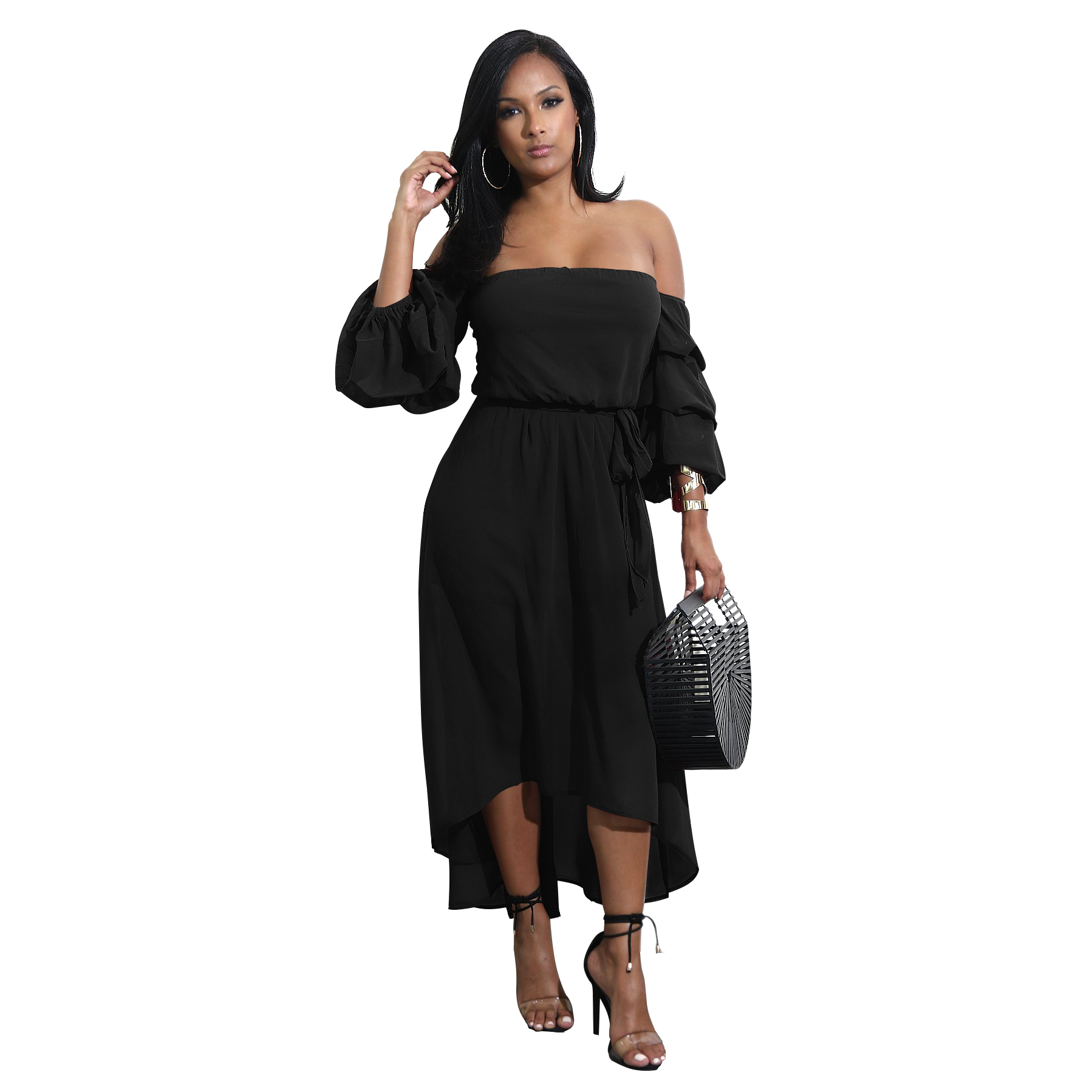 2017 strapless ruffle sleeve waist band ladies casual dresses
