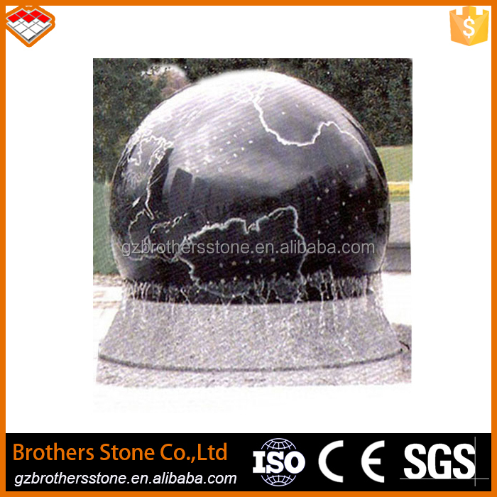 Garden carved black granite stone rolling fortune ball