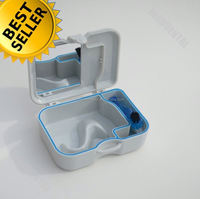 Dental Plastic Denture Box with Mirror and Brush clear dentures plastic box