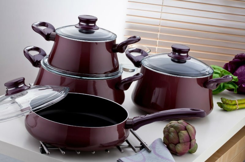 Brioni Sueno 8 pcs Non-Stick Enamel Cookwares Set Purple