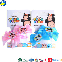 FJ Brand fashion custom logo pink hair bow with clip ribbons bowknot hairpin for kids
