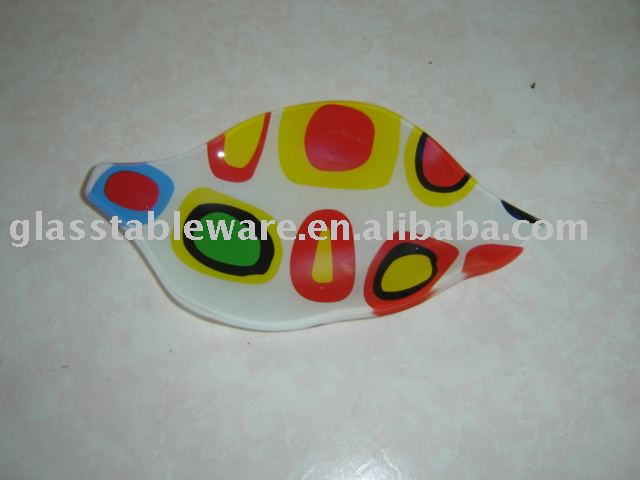 leaf shaped tempered decorative glass plate,serving tray