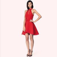 China Manufacture Wholesale sexy backless halter neck sleeveless mini red A-line beautiful girl without dress