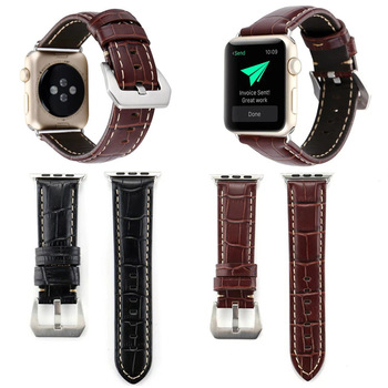 crocodile genuine leather strap leather for apple watch band 38mm 42mm