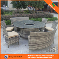 Round rattan dining chair and table with lazy Susan plastic rattan wicker dining set