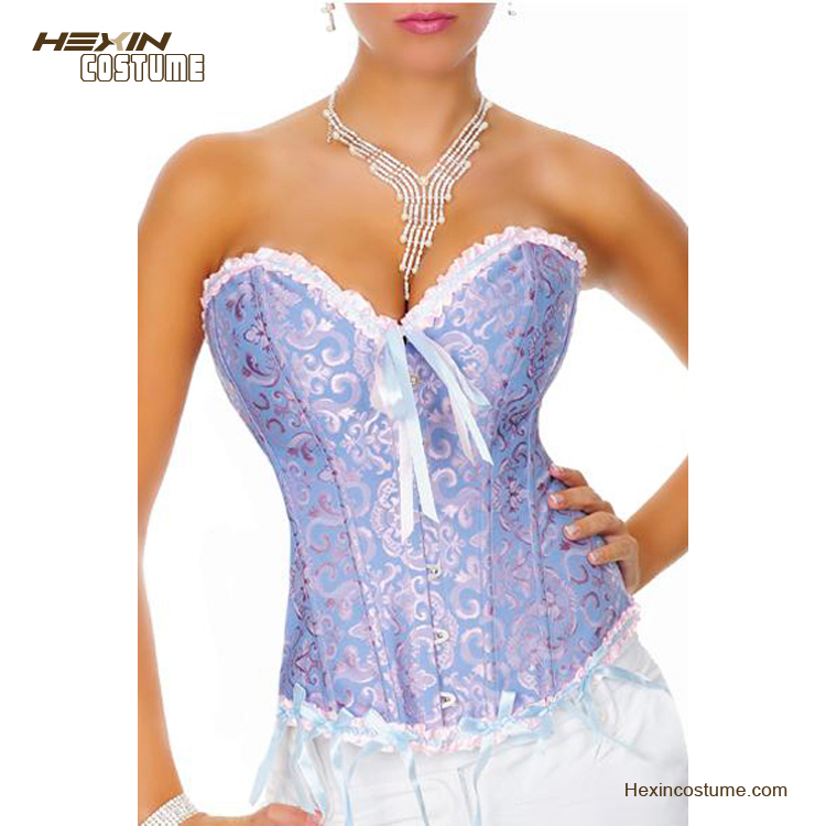 Fat Mature Sexy Overbust Pattern Hot Women Sex Blue Corset