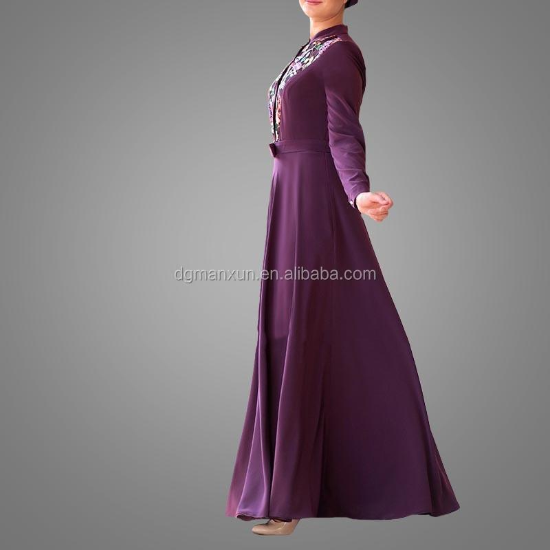 Elegant Muslim Islamic Evening Dress Lace Embroidery Women Dress Slim fit Abaya Dubai 2017 (5).jpg