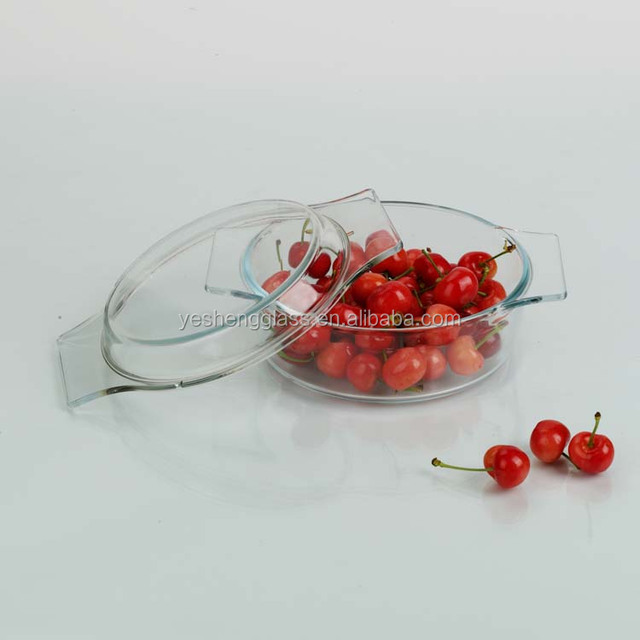 Small round baking glass casserole with handle/SGS testing/oven safe