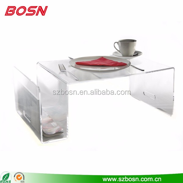 Hot sell customized transparent acrylic side table with perspex shelf