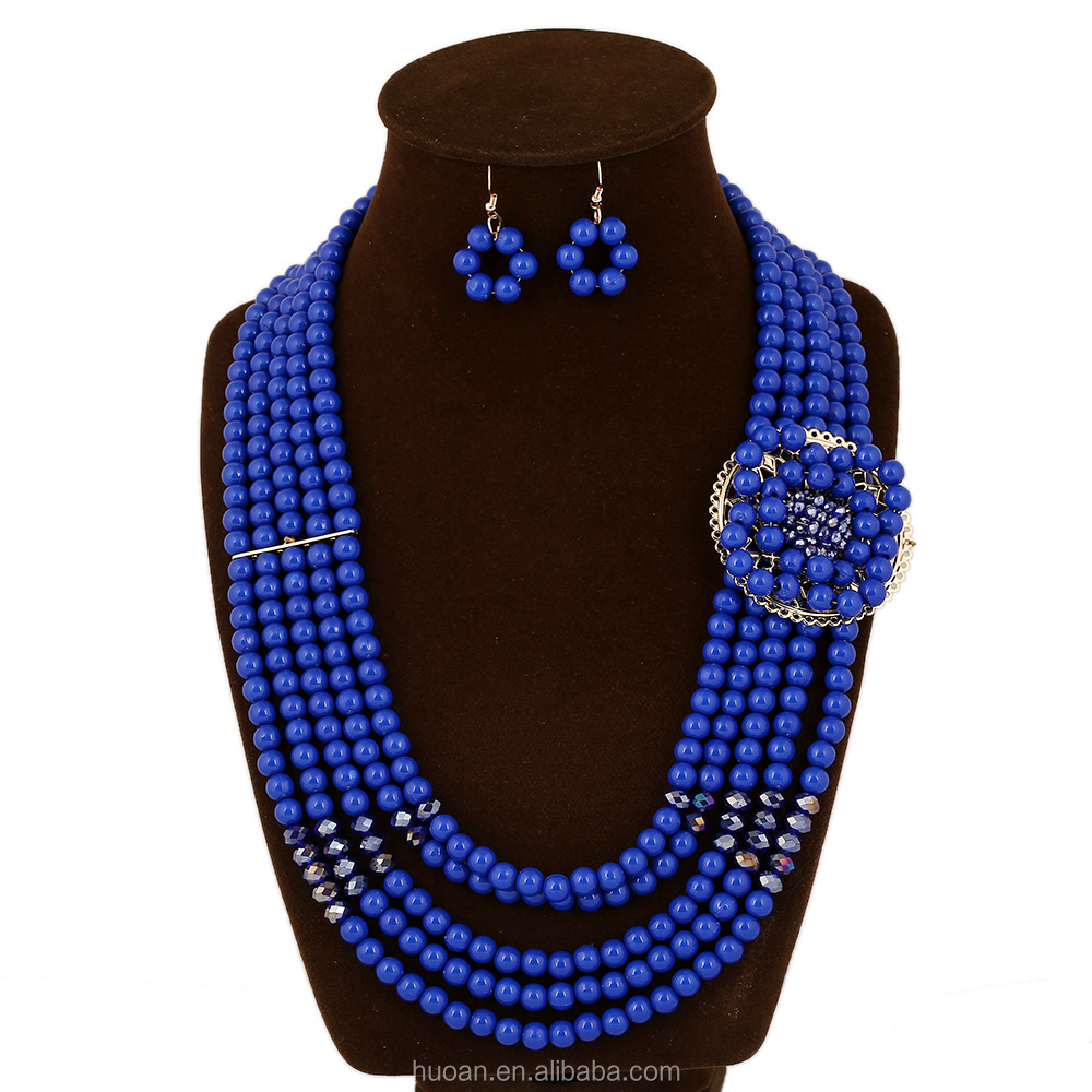 Wholesale beaded big necklace set fashion jewelry best sell for party
