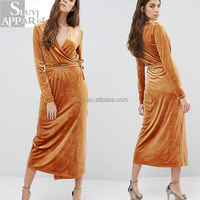 Winter dresses women wrap front velvet long sleeve vintage maxi dress online shopping wholesale ladies fashion clothing