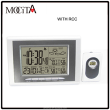 Digital RCC weather station table clock, Wireless RCC weather station clock with weather forecast
