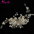Wedding Jewelry Decoration Rhinestone Women Headpiece Crystal Flower Rose Gold hair comb Prom Accessory Bridal Pearl Headwear