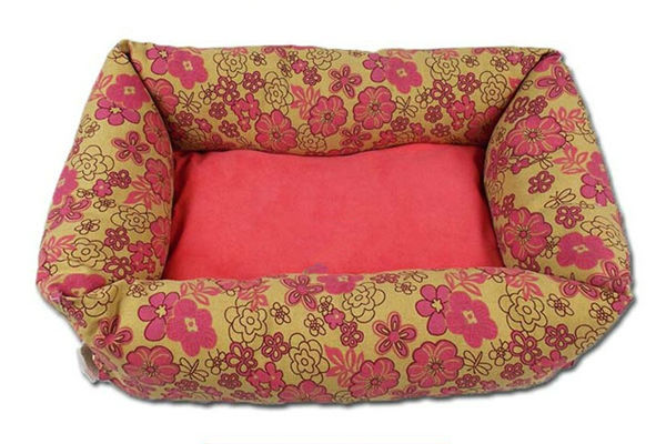 Red Flower Pattern Cotton Beautiful Dog Bed