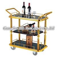 Guangzhou BHL Hotel Articles Three-Tier serving cart tea trolley rolling bar cart With Bilateral Armrest Castors C55