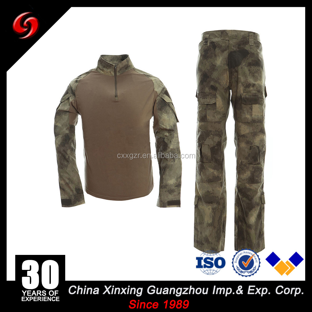 Low MOQ 1000 AU Camo Combat Shirt And Pants With Elbow And Knee Pads Tactical suit