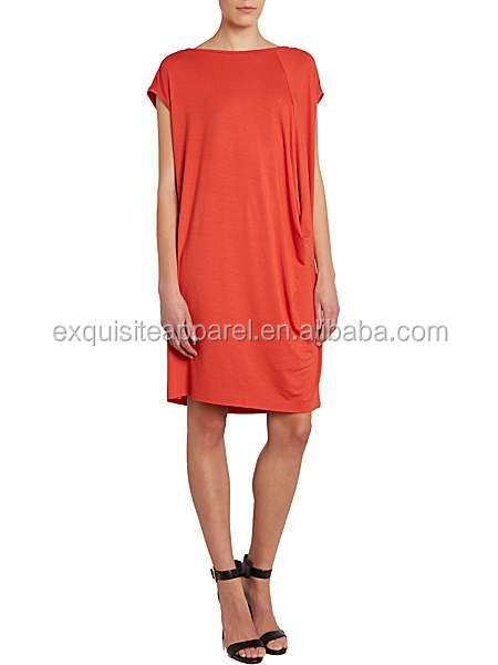 Women's Cotton Jersey loose fit Drape front Slash Neck Tunic Dress