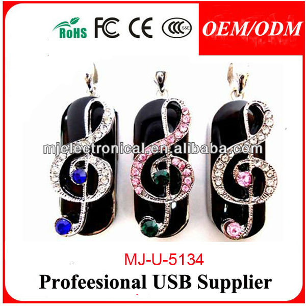 Musical Note Usb Flash Drive Jewelry Usbs,Good Looking Music Crystal Usb Pen Drive