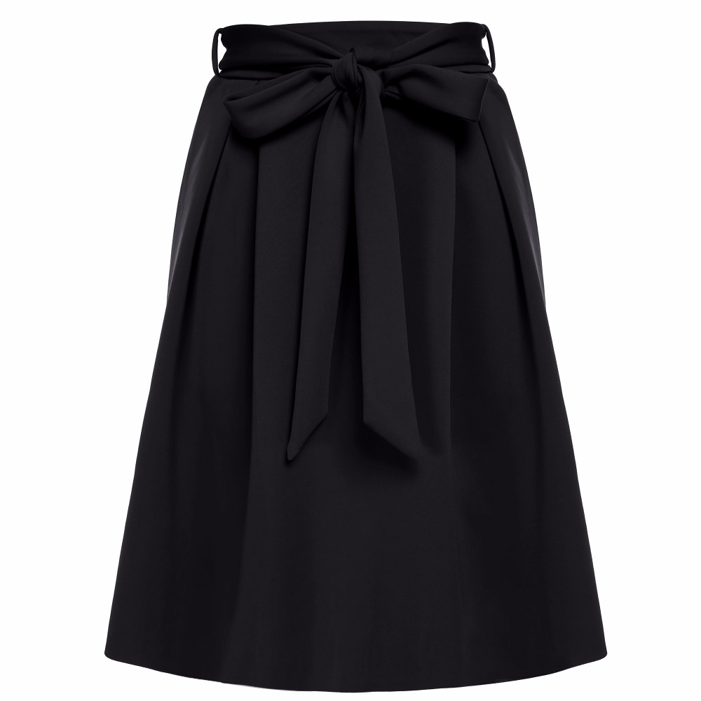 FINEJO Women Fashion Casual Slim A-Line Bowknot Pleated Skirt