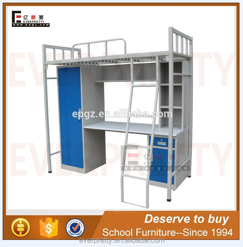 Poland smart furniture child metal frame double bunk bed with wardrobe